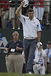 European Team player Padraig Harrington acknowledges the crowds on the 1st tee during the Singles on the Final Day of the Ryder Cup at Valhalla Golf Club, Louisville, Kentucky, USA, 21st September 2008 (Photo by Eoin Clarke/GOLFFILE)