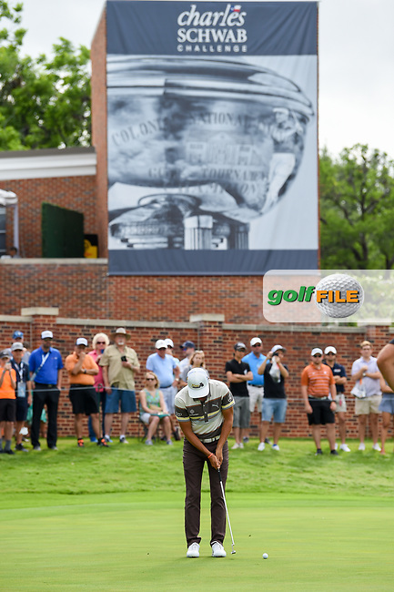 Rickie Fowler (USA) watches his putt on 16 during round 1 of the 2019 Charles Schwab Challenge, Colonial Country Club, Ft. Worth, Texas,  USA. 5/23/2019.<br /> Picture: Golffile | Ken Murray<br /> <br /> All photo usage must carry mandatory copyright credit (© Golffile | Ken Murray)