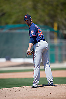 Minnesota Twins pitcher Clark Beeker (52) during a Minor League Spring Training game against the Tampa Bay Rays on March 15, 2018 at CenturyLink Sports Complex in Fort Myers, Florida.  (Mike Janes/Four Seam Images)