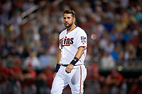 Minnesota Twins third baseman Trevor Plouffe (24) during a Spring Training game against the Boston Red Sox on March 16, 2016 at Hammond Stadium in Fort Myers, Florida.  Minnesota defeated Boston 9-4.  (Mike Janes/Four Seam Images)