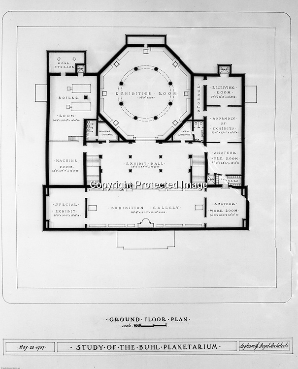 Pittsburgh PA:  View of a drawing created by Ingram & Boyd Architects of the new Buhl Planetarium.  This view is the proposed ground floor layout of the planetarium. The project was completed in 1939.  The Buhl Planetarium was built with monies from the Buhl Foundation; a foundation created by the wealthy North Side clothier Henry Buhl of Boggs and Buhl department store fame.  Brady Stewart was selected for the job due to his specialized equipment; an 8x10 Dierdorff camera, and his expertise in lighting and photographing large renderings and drawings.