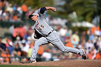 Detroit Tigers pitcher Blaine Hardy (65) during a Spring Training game against the Baltimore Orioles on March 4, 2015 at Ed Smith Stadium in Sarasota, Florida.  Detroit defeated Baltimore 5-4.  (Mike Janes/Four Seam Images)