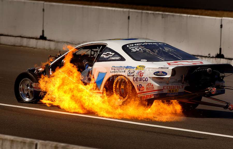 NHRA Pro Stock racer Ron Krisher crashes and catches fire Pacific Raceways Seattle Washington Mandatory credit: Mark J. Rebilas