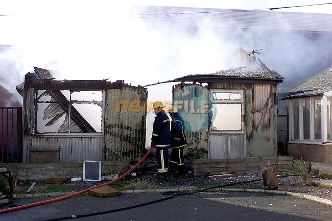 Members of Drogheda ansd Balbriggan Fire Service fighting the fire which broke out at a holiday home in aytown on Wednesday morning..Picture Fran Caffrey Newsfile