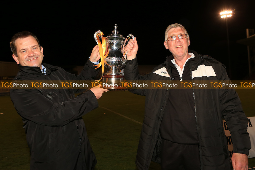Manager Hayden Bird (left) and Assistant Mick Sullivan (Right) with the Surrey Senior Cup during Merstham vs Godalming Town, Surrey Senior Cup Final Football at The Laithwaite Community Stadium on 4th May 2016
