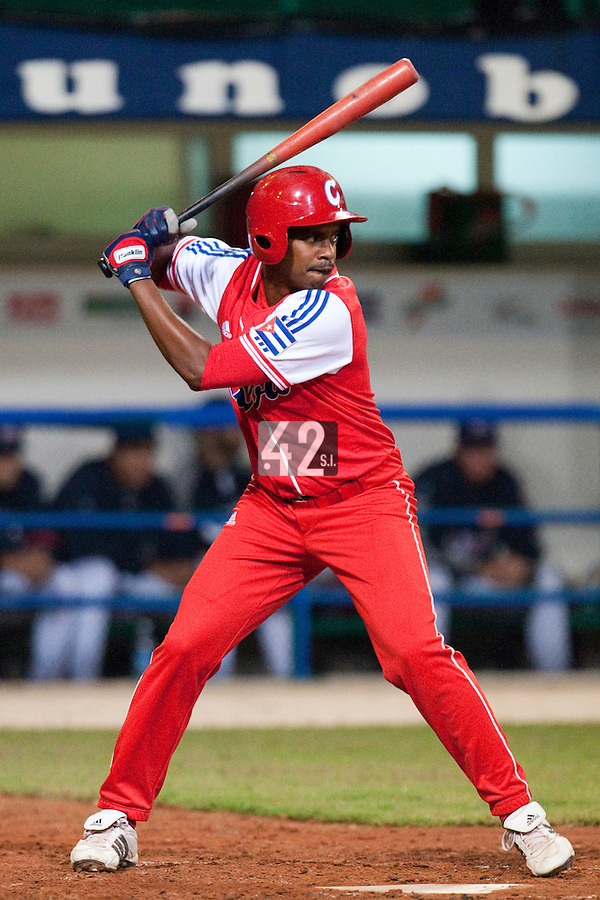 24 September 2009: Luis Miguel Navas of Cuba is seen at bat during the 2009 Baseball World Cup final round match won 5-3 by Team USA over Cuba, in Nettuno, Italy.