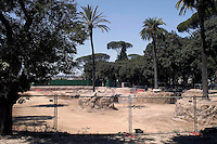 Rome  August  21 2008.The contested yard of the parking lot of the closed pincio waiting for the decision of the mayor Alemanno.The car park was to hold over 700 cars on seven levels.The archaeological work on the Pincio in preparation for the car park has revealed interesting findings including a walled structure of unknown height from imperial Rome and a crypto portico from the first century BC.
