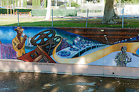 """Crash & Depression"" Great Wall Mural, Los Angeles, CA, Tujunga Wash, Sub Watershed, San Fernando Valley, Los Angeles, CA"