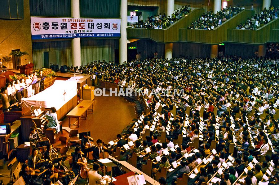Culto religioso em igreja crista. Coréia do Sul. 1999. Foto de Ricardo Azoury.