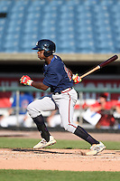 Chad Smith (20) of South Gwinnett High School in Snellville, Georgia playing for the Atlanta Braves scout team during the East Coast Pro Showcase on July 31, 2014 at NBT Bank Stadium in Syracuse, New York.  (Mike Janes/Four Seam Images)