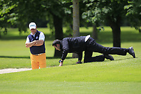Jon Bevan (Sherbome GC) plugged in the face of a bunker on the 18th during Round 1 of the Titleist &amp; Footjoy PGA Professional Championship at Luttrellstown Castle Golf &amp; Country Club on Tuesday 13th June 2017.<br /> Photo: Golffile / Thos Caffrey.<br /> <br /> All photo usage must carry mandatory copyright credit     (&copy; Golffile | Thos Caffrey)
