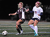 Emma Wieland #11 of Garden City, left, and Juliana Klaum #21 of South Side battle for possession during the Nassau County varsity girls soccer Class A final at Cold Spring Harbor High School on Tuesday, Nov. 1, 2016. The game went to halftime with no score.