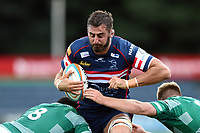 Nick Civetta of Doncaster Knights takes on the Newcastle Falcons defence. Pre-season friendly match, between Doncaster Knights and Newcastle Falcons on August 25, 2018 at Castle Park in Doncaster, England. Photo by: Patrick Khachfe / Onside Images