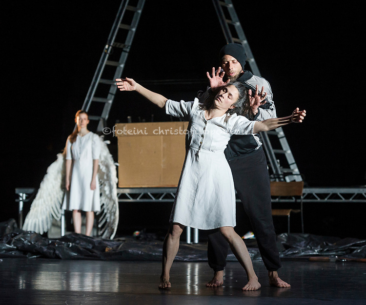 London, UK. 30.11.2017. Michael Keegan-Dolan's Swan Lake/Loch na hEala returns to Sadler's Wells, 30 Nov - 2 Dec. Picture shows: Carys Staton, Rachel Poirier, Alexander Leonhartsberger. Photo - © Foteini Christofilopoulou.