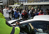 "Pictured: Taxi drivers attack an Uber cab in Syntagma Square, Athens Greece. Tuesday 06 March 2018<br /> Re: Taxi drivers have attacked Uber vehicles while protesting against Uber operating in Athens, Greece.<br /> Taxi drivers will on strike for nine hours on Tuesday8 a.m. to 5 p.m. in protest at what they call unfair competition from Uber taxi services.<br /> In a statement, the SATA union representing cab drivers in Attica also expressed dismay at delays in passing a Transport Ministry bill to reorganize their sector and derided ""innovative platforms that rob taxi drivers and the country."""