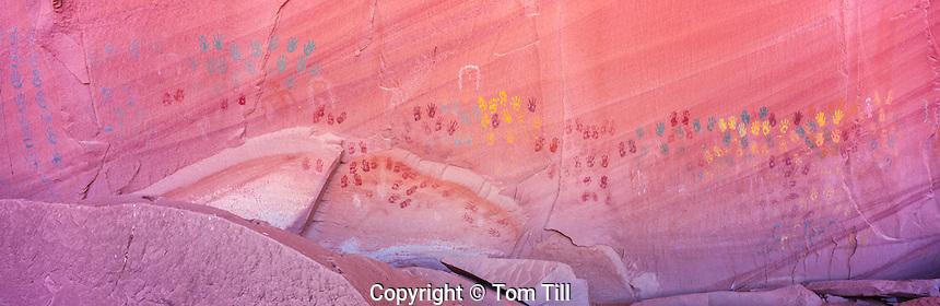 "The ""Neon Hands"", Multicolored Handprint Pictographs, Ancient Ancestral Puebloan Rock Art, Arizona"