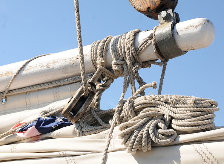 Detail of the rigging of the Sloop Clearwater Pumpkin Sail at Hudson, NY on Monday, October 10, 2011. Photo by Jim Peppler. Copyright Jim Peppler/2011.