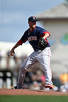 Boston Red Sox pitcher Heath Hembree (37) during a Spring Training game against the Pittsburgh Pirates on March 12, 2015 at McKechnie Field in Bradenton, Florida.  Boston defeated Pittsburgh 5-1.  (Mike Janes/Four Seam Images)