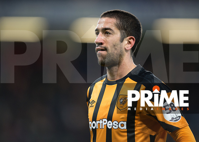 Evandro Goebel of Hull City during the FA Cup 5th round match between Chelsea and Hull City at Stamford Bridge, London, England on 16 February 2018. Photo by Vince  Mignott / PRiME Media Images.