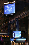 """Theatre Marquee for the Opening Night Performance of """"Frankie and Johnny in the Clair de Lune"""" starring Michael Shannon and Audra McDonald at the Broadhurst Theatre on May 29, 2019  in New York City."""