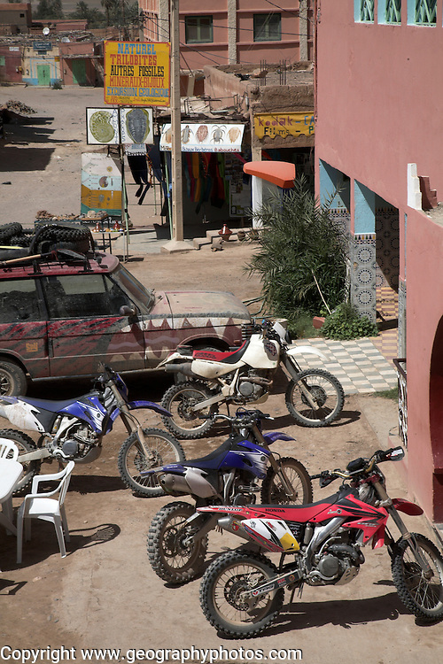 Motorbikes parked, Alnif, Morocco, north Africa