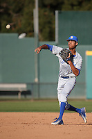 Tevin Mitchell (10) of the UC Santa Barbara Gauchos makes a throw before a game against the Cal State Long Beach Dirtbags at Blair Field on April 1, 2016 in Long Beach, California. UC Santa Barbara defeated Cal State Long Beach, 4-3. (Larry Goren/Four Seam Images)