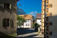 Hotel Meisser in the Engadine Valley in the village of Guarda with old painted stone buildings, Switzerland