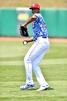 Tennessee Smokies starting pitcher Oscar De La Cruz (37) warms up before a game against the Mississippi Braves at Smokies Stadium on May 20, 2018 in Kodak, Tennessee. The Braves defeated the Smokies 7-4. (Tony Farlow/Four Seam Images)