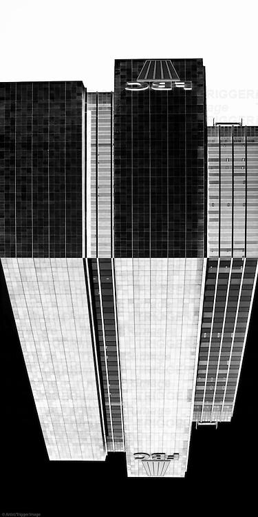 The reflected facade of the Frankfurt Office Center skyscraper.