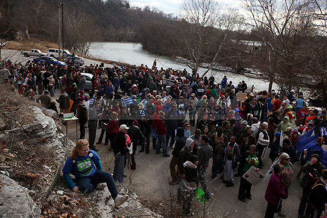 "Protesters gather by the river before the ""I Love Mountains"" rally at the capitol building in Frankfort on Valentine's Day.  Photo by Britney McIntosh 