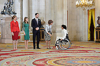 (L-R) Spanish Royals Princess Elena, Princess Letizia, Prince Felipe and Queen Sofia with Spanish Paralympic swimmer Teresa Perales Fernandez during the International Olympic Committee Evaluation Commission Team for a dinner at the Royal Palace.March 20,2013. (ALTERPHOTOS/Pool) /NortePhoto