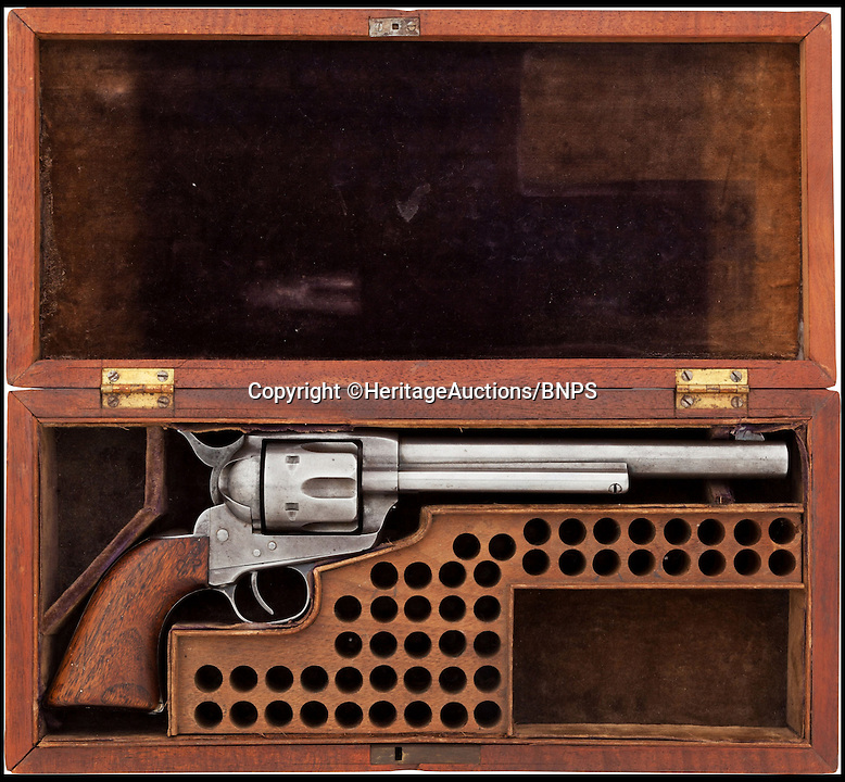 BNPS.co.uk (01202 558833)<br /> Pic: HeritageAuctions/BNPS<br /> <br /> ***Please use full byline***<br /> <br /> One of Buffalo Bill's favourite guns with which he used to wow crowds in his famous Wild West show has emerged for sale almost 100 years after his death.<br /> <br /> The legendary showman - real name William Cody - bought the six-shooter revolver in 1883, the same year he launched his circus-style travelling show.<br /> <br /> The 1873 Colt Frontier Six Shooter Revolver gun is being auctioned with starting price of $37,500 - around &pound;22,000 - at Heritage Auctions in Dallas, Texas.<br /> <br /> A pistol used by Buffalo Bill when he was a scout for the US Army during the American Indian Wars sold for &pound;143,000 in 2012.