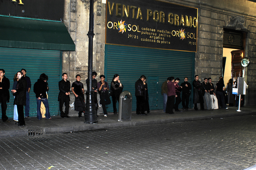 "A crowd lines up to get into the Dada X party. ""Darkies"" or ""Goths"" at one of the Dada X parties in the historic center of Mexico City. August 28, 2005"
