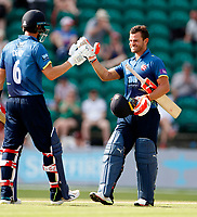 Heino Kuhn (R) of Kent is congratulated on his century by Joe Denly during the Royal London One Day Cup game between Kent and Gloucestershire at the County Ground, Beckenham, on June 3, 2018