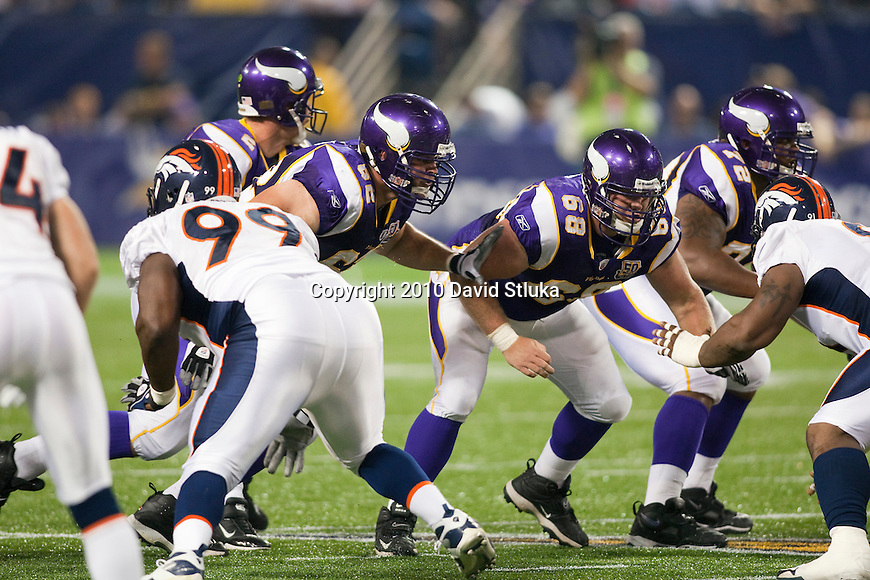 The Minnesota Vikings offensive line Ryan Cook (62), Jon Cooper (68) and Chris DeGeare (72) block during an NFL preseason football game against the Minnesota Vikings in Minneapolis, Minnesota on September 2, 2010. (AP Photo/David Stluka)