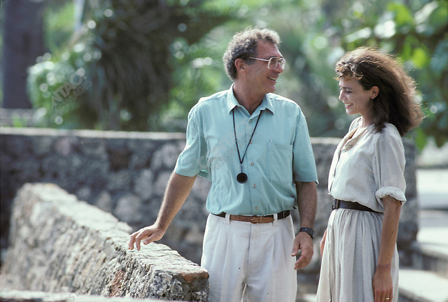 Sydney Pollack, director, on the set of Havana with Lena Olin, who costarred in the movie with Robert Redford. March 1990