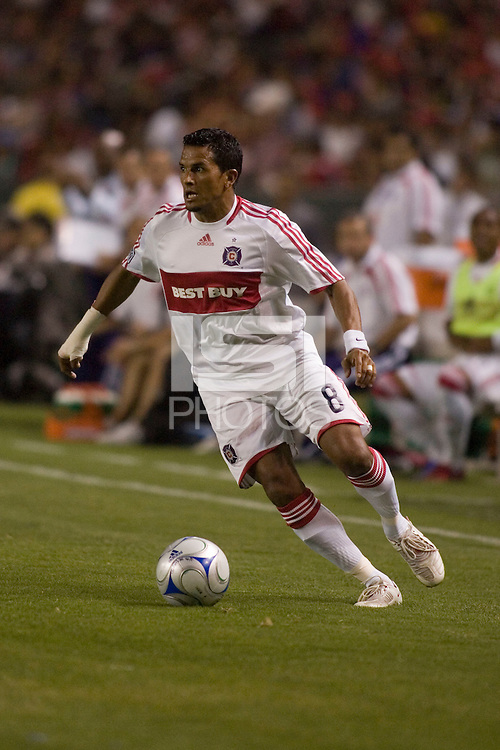 Chicago Fire defender Diego Gutierrez dribbles the ball.  Chivas USA beat the Chicago Fire 2-0 at the Home Depot Center in Carson, Calif on Thursday, June 19, 2008.