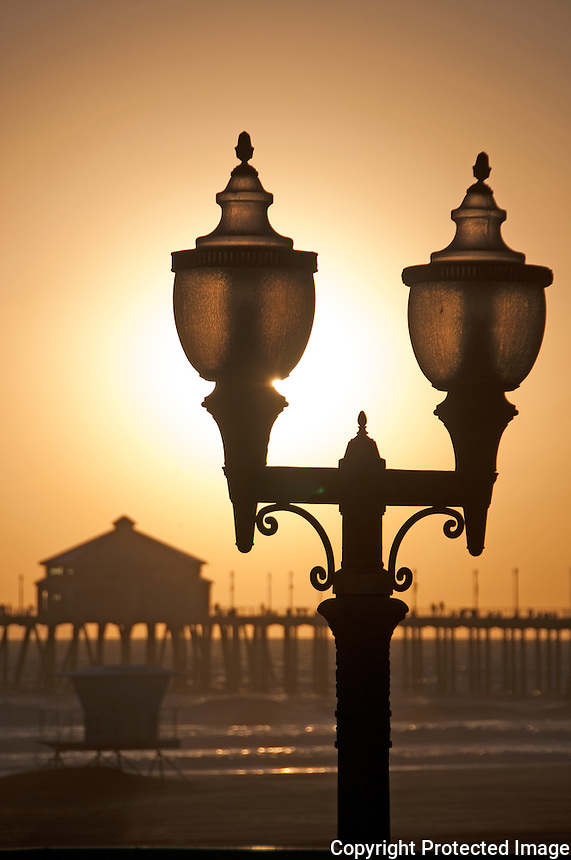 Walkway lights at the Huntington beach pier in Los angeles california.