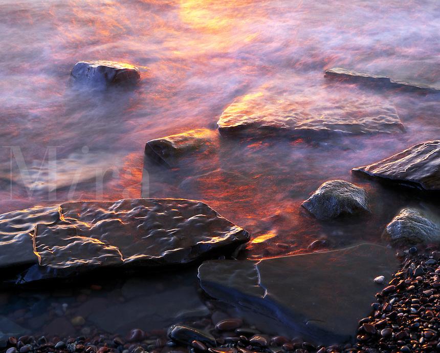 Rocks along Lake Superior at sunset. Porcupine Mountains Wilderness State Park Michigan