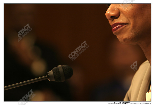 2004 David Burnett/Contact Press Images.April 8 2004..National Security Adviser Condoleezza Rice meets with, and speaks to the 9/11 Commission at the US  Senate, Washington DC.  She spoke for about 2 1/2 hours, answering questions from panel members.  Former Ill. Gov. Jim Thompson, comm.  member..