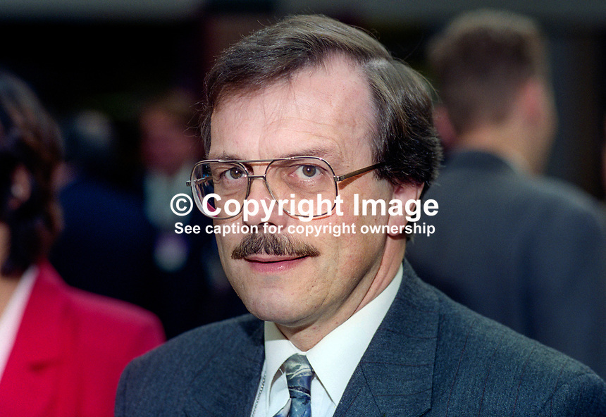 David Porter, MP, Conservative Party, UK, October, 1995, 199510214.<br /> Copyright Image from Victor Patterson,<br /> 54 Dorchester Park, <br /> Belfast, UK, BT9 6RJ<br /> <br /> t1: +44 28 9066 1296 (from Rep of Ireland 048 9066 1296)<br /> t2: +44 28 9002 2446 (from Rep of Ireland 048 9002 2446)<br /> <br /> m: +44 7802 353836<br /> <br /> e: victorpatterson@me.com<br /> www.victorpatterson.com<br /> <br /> Please see my Terms and Conditions of Use at www.victorpatterson.com. It is IMPORTANT that you familiarise yourself with them.<br /> <br /> Images used on the Internet must be visibly watermarked i.e. &copy; Victor Patterson<br /> within the body of the image and copyright metadata must not be deleted. Images <br /> used on the Internet have a size restriction of 4kbs and will be chargeable at current<br />  NUJ rates unless agreed otherwise.<br /> <br /> This image is only available for the use of the download recipient i.e. television station, newspaper, magazine, book publisher, etc, and must not be passed on to any third <br /> party. It is also downloaded on condition that each and every usage is notified within 7 days to victorpatterson@me.com<br /> <br /> The right of Victor Patterson to be identified as the author is asserted in accordance with The Copyright Designs And Patents Act (1988). All moral rights are asserted.