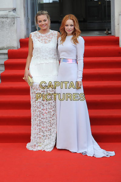Margot Robbie and Rachel McAdams<br /> attends the World Premiere of &quot;About Time&quot;, Somerset House, London, UK, 8th August 2013.<br /> full length long maxi dress silver grey gray lace crochet white  <br /> CAP/BEL<br /> &copy;Tom Belcher/Capital Pictures