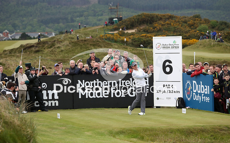 27 May 2015; Rory McIlroy tees off at the 6th<br /> <br /> Dubai Duty Free Irish Open Golf Championship 2015, Pro-Am. Royal County Down Golf Club, Co. Down. Picture credit: John Dickson / DICKSONDIGITAL