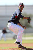Minnesota Twins pitcher Edgar Ibarra #49 during an Instructional League game against the New York Mets at Lee County Sports Complex on October 4, 2011 in Fort Myers, Florida.  (Mike Janes/Four Seam Images)