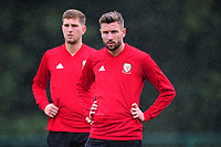 Paul Dummett of Wales in action during the Wales Training Session and Press Conference at The Vale Resort in Cardiff, Wales. September 3, 2018