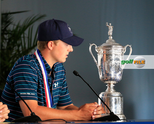 Jordan Speith (USA) wins the Championship at the end of Sunday's Final Round of the 2015 U.S. Open 115th National Championship held at Chambers Bay, Seattle, Washington, USA. 6/22/2015.<br /> Picture: Golffile | Eoin Clarke<br /> <br /> <br /> <br /> <br /> All photo usage must carry mandatory copyright credit (&copy; Golffile | Eoin Clarke)