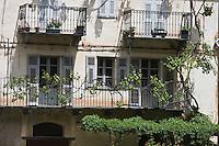 Europe/France/Provence-Alpes-Côtes d'Azur/06/Alpes-Maritimes/Alpes-Maritimes/Arrière Pays Niçois/Tende: Vieille maison du village avec sa terrasse et sa treille