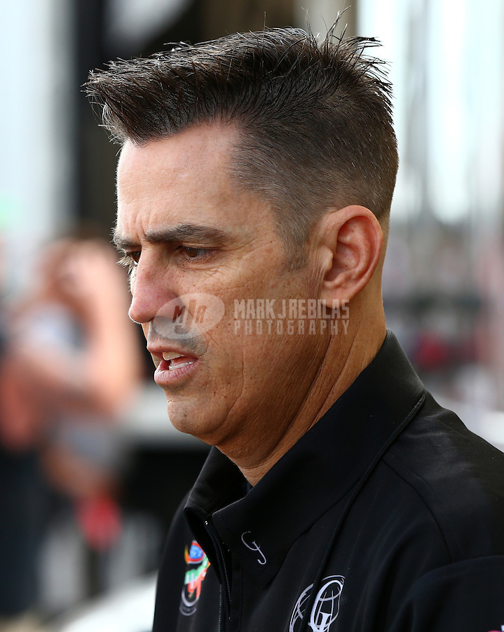 Mar 14, 2015; Gainesville, FL, USA; NHRA top fuel driver Larry Dixon during qualifying for the Gatornationals at Auto Plus Raceway at Gainesville. Mandatory Credit: Mark J. Rebilas-