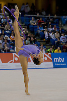 Liubouv Charkashyna (BLR) performs with the hoop during the final of the 2nd Garantiqa Rythmic Gymnastics World Cup held in Debrecen, Hungary. Sunday, 07. March 2010. ATTILA VOLGYI