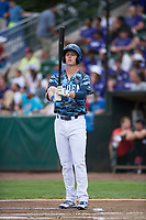 Ogden Raptors first baseman Dillon Paulson (14) at bat during a Pioneer League game against the Billings Mustangs at Lindquist Field on August 17, 2018 in Ogden, Utah. The Billings Mustangs defeated the Ogden Raptors by a score of 6-3. (Zachary Lucy/Four Seam Images)